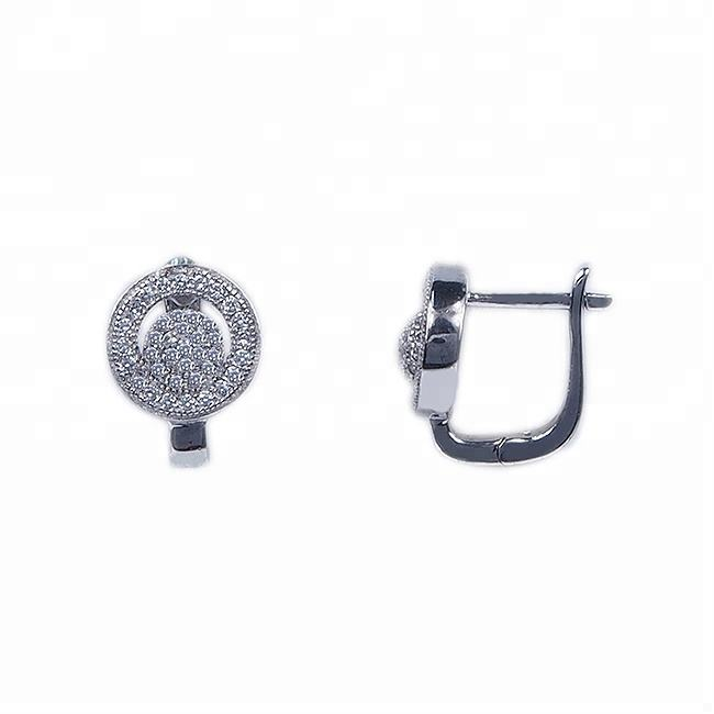2015 JRL micro crystal pave 장식 못 sterling silver earrings round 도매 판위 보석 공장