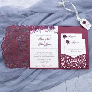 Modern red wedding invitations die cut marriage invitation card royal gold wedding invitation pocket