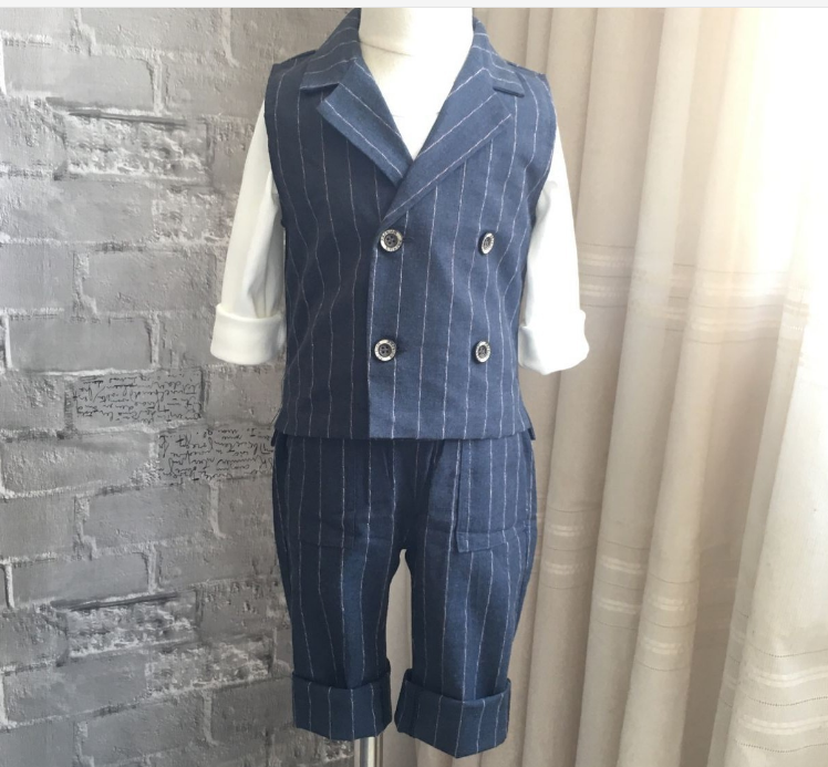 Kid's blue striped tuxedo vest and pant