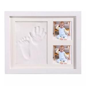 wholesale 12 month baby photo frame baby handprint and footprint frame with baby photo frame clay
