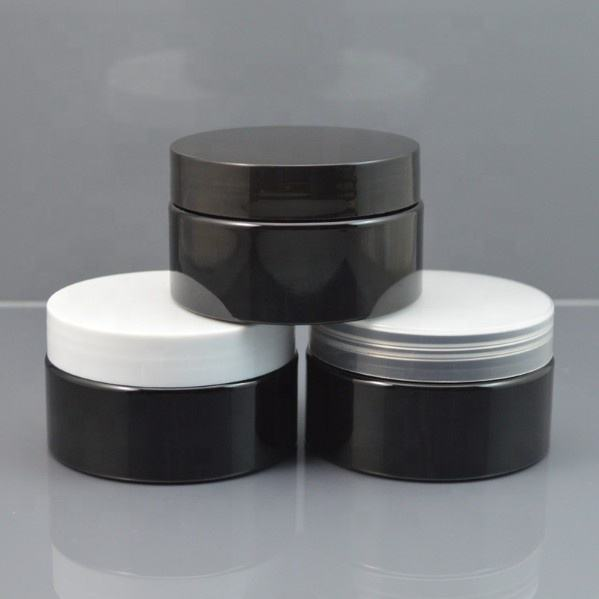 Reusable hair conditioner tea package cosmetic container 30g 50g 100g 150g 200g 250g Solid Black Plastic Jar with black lid