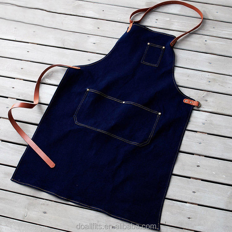 Cheap Wholesale Custom Denim Coffee Aprons with Leather Straps