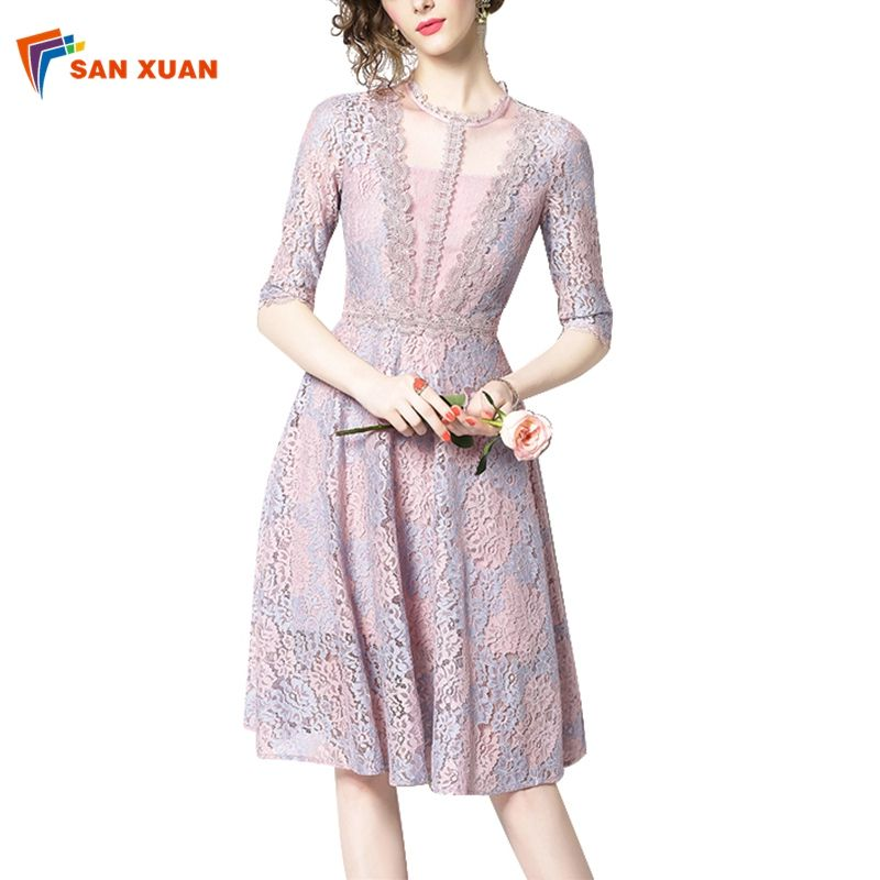 Guangzhou women clothing European new style Casual Fashion A line o neck half sleeves knee length casual summer long lace dress
