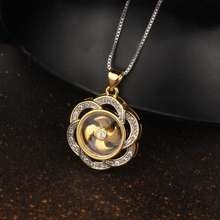 FD020 Thailand Gold Plated Flower Necklaces For Women Bridesmaid Gift, Custom Windmill Pendant Necklace With Diamond