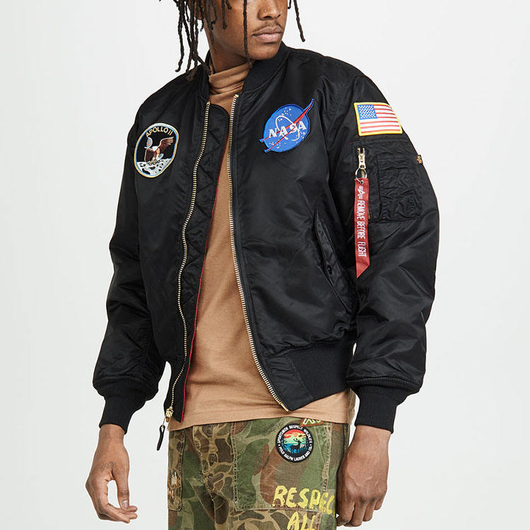 Classic design multi embroidery badges nasa custom satin black bomber jacket