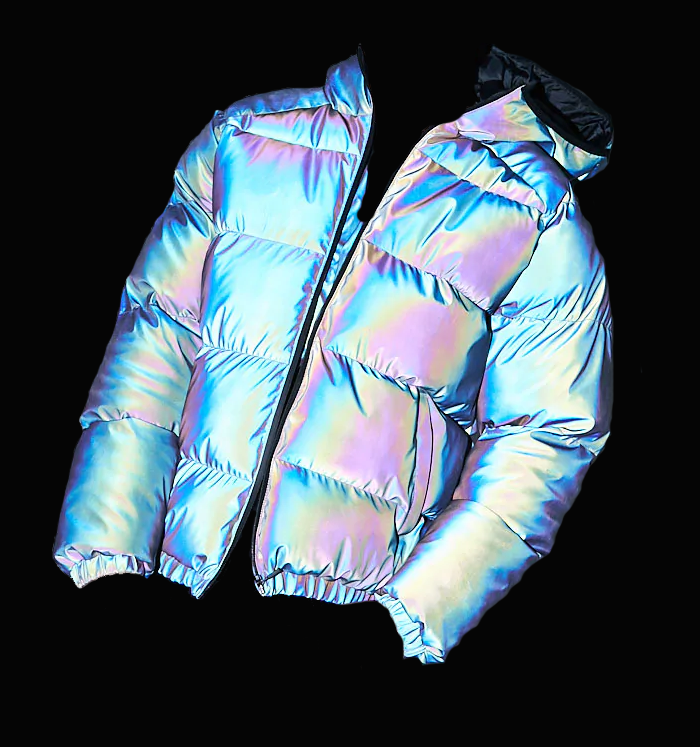 OEM Men's Holographic High end streetwear Rainbow Reflective Jacket custom logo