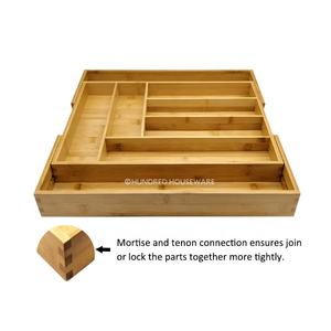 Expandable Bamboo 칼 Tray 주방 서랍 주최자