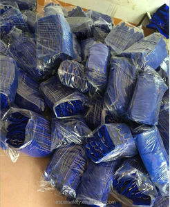 Factory directly sell 14inch Blue Premium Flock lining cow split leather reinforced thumb heat resistant welding hand glove