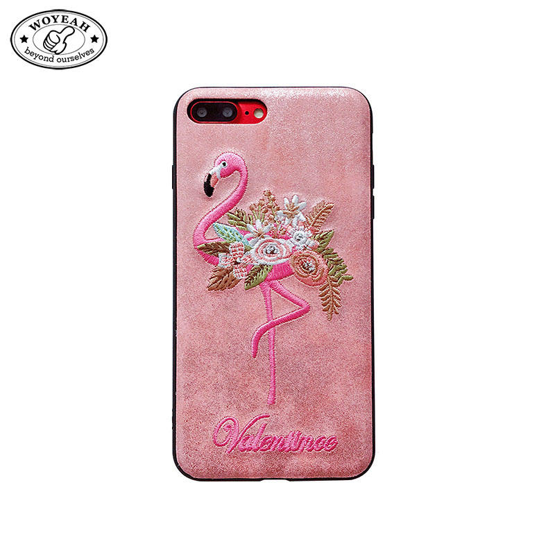 Stickerei Rosa Flamingo Design Korea Stil Telefonkasten für iphone