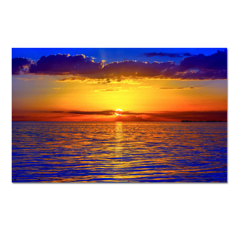 Wrapped HD Beach Sunset Ocean Waves Canvas Prints Wall Art Painting Large