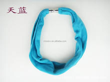 Newest sky blue scarf infinity jewelry scarf magnetic button scarf with jewelry short scarf necklace