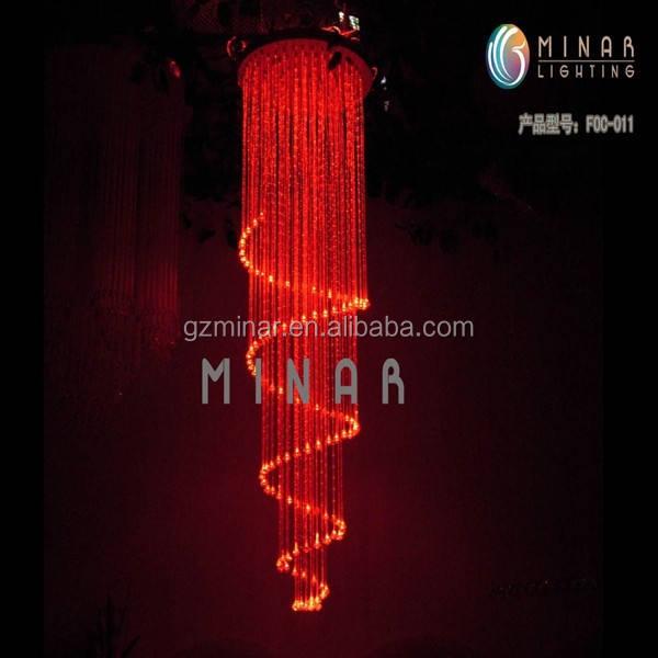 2m guangzhou 220 voltluk led fiber optik kristal top avize ışığı