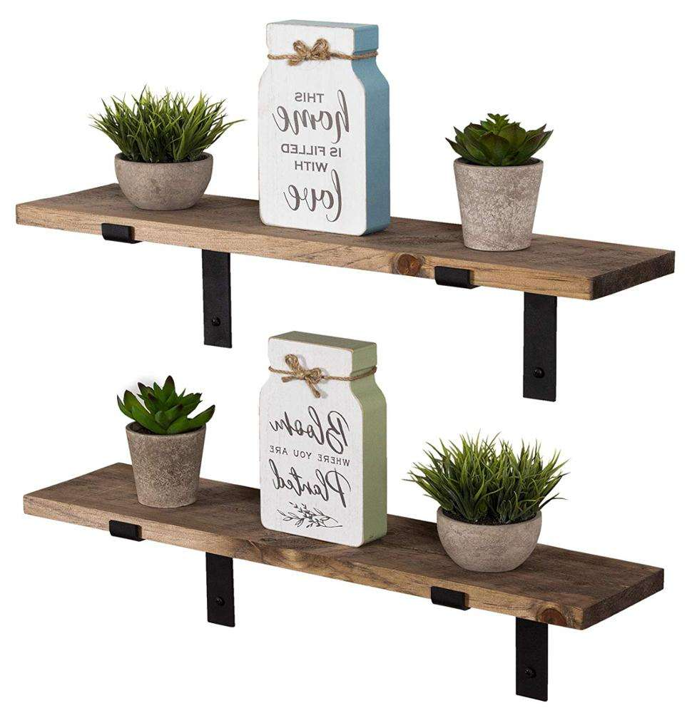 Decorative Rustic Shelves Rustic Hanging Rack Floating Metal Wood Wall Mounted Shelf with L Brackets Set of 2 For Storage