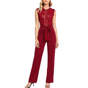 Custom Dames Nieuwe Mode Uitgaan Rode Contract Lace Belted Jumpsuit