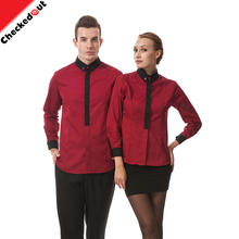 Latest fashion hot waiter shirt two-color stitching cuff adjustable waiter shirt uniform for bar