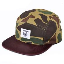 leather brim camper cap/floral camo 5 panel/5 panel camp cap hats