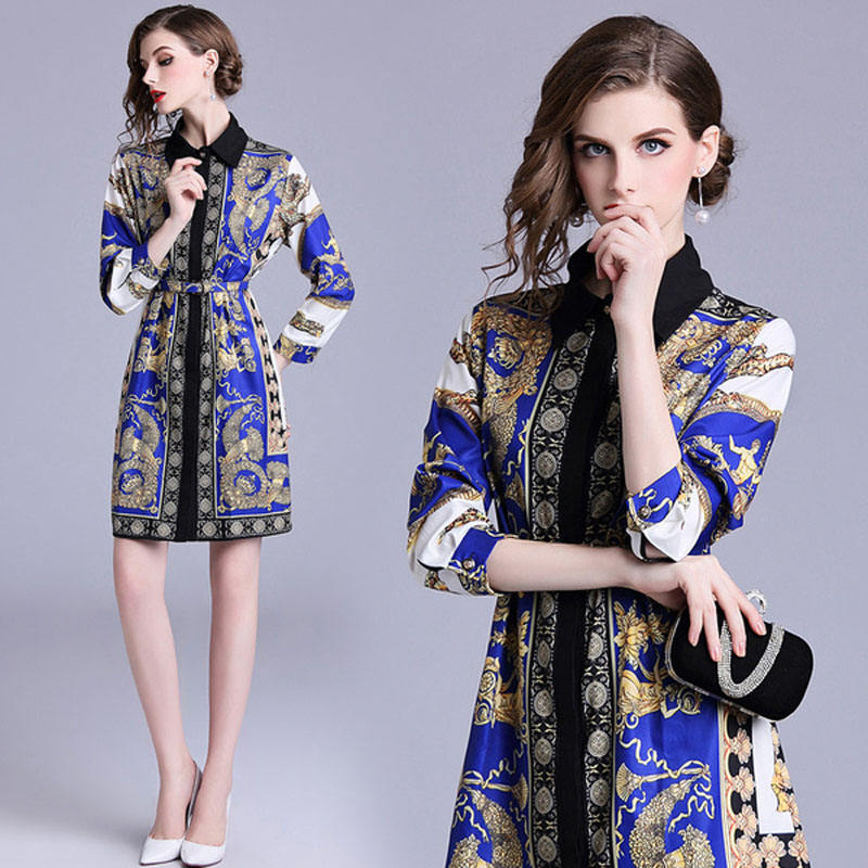 Spot QP3143063 Europe and the United States women's new lapel long-sleeved retro printed loose dress