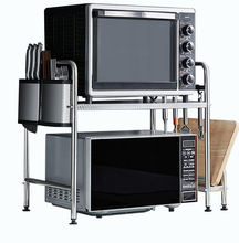 Hot Sale Kitchen Storage Rack  2-tier Microwave Oven Standing Rack Shelf Utility Microwave Oven Stainless Steel Shelf