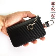 Custom logo OEM  Carbon Fiber key chain bag rfid leather car key case