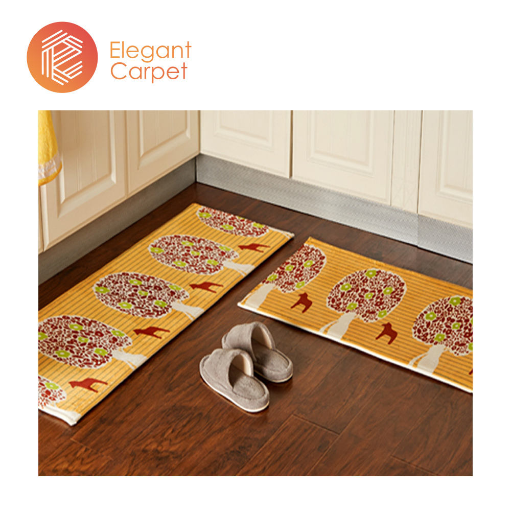 heat transfer printed polyester washable runner rugs for kitchen