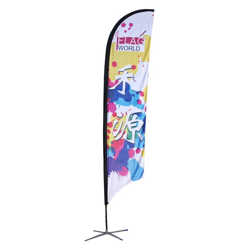 Factory Price Outdoor Custom Design Printing Double Side Polyester Advertising Beach Teardrop Feather Flag Banner Pole
