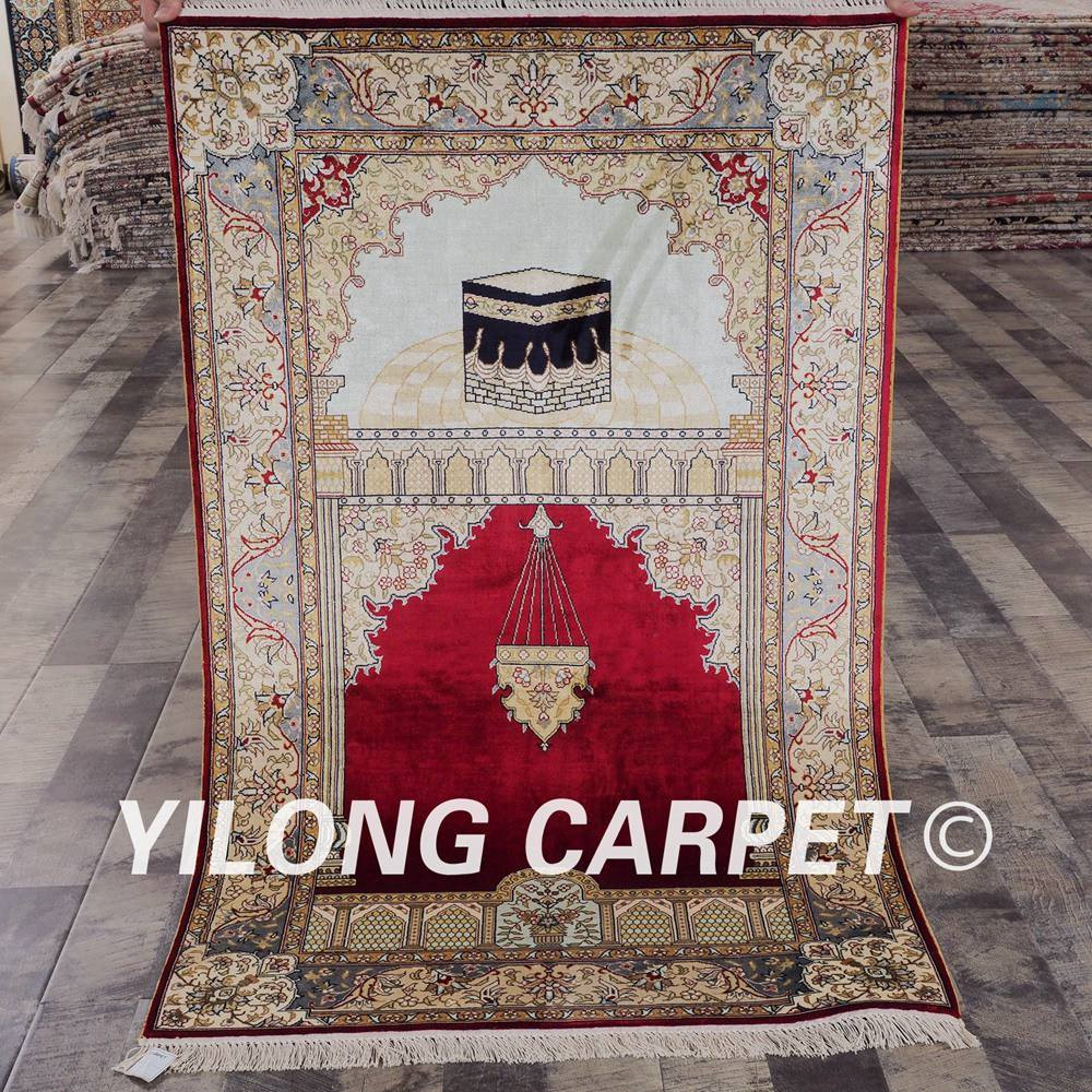 YILONG 2.5'x4' Persian silk handknotted muslim carpets handmade red color prayer rug