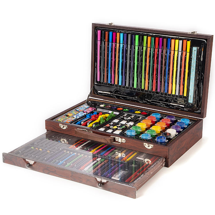 GSF Luxury 124-pcs Wooden Box Painting Art Set For Kids Teenagers