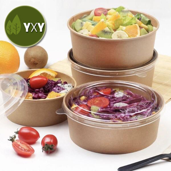 100% Eco Friendly Biodegradable Disposable Kraft Paper Salad Bowl With LID