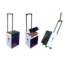 Corrugated Cardboard Roller Bag Paper Roll Trolley for Exhibition Eco Expo Box Trade Fair Show Paper