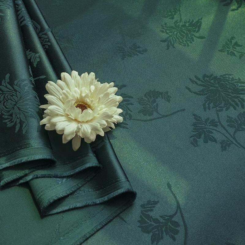 Hot sale floral pattern blend satin cotton jacquard polyester woven fabric for dress