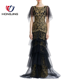 women Embroidered Tiered Boatneck Short tulle flutter sleeves Gown Concealed back zip closure Banded waist prom sexy bride dress