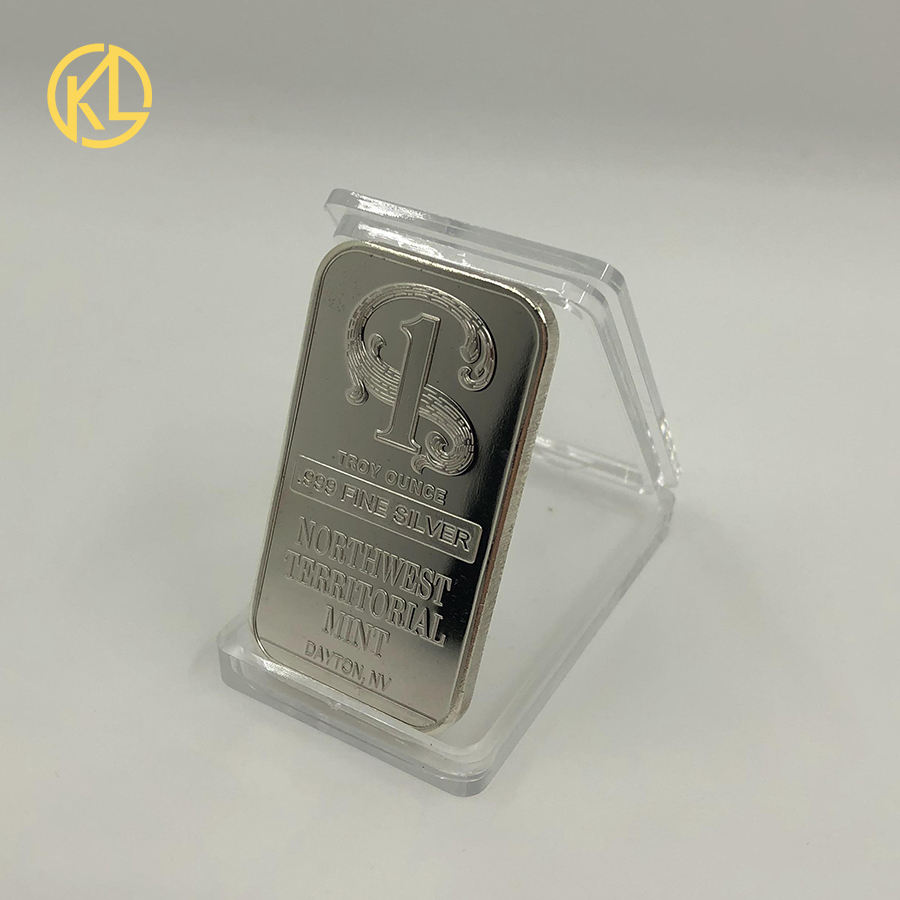 Kelin Silver Plated Metal Bar Northwest Territorial Mint Art Crafts Bullion Bar Silver Coin for Home Collection Souvenir