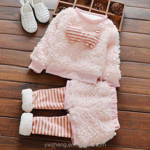 New winter baby clothes girls thicken velvet long-sleeved christmas two-piece set outfits