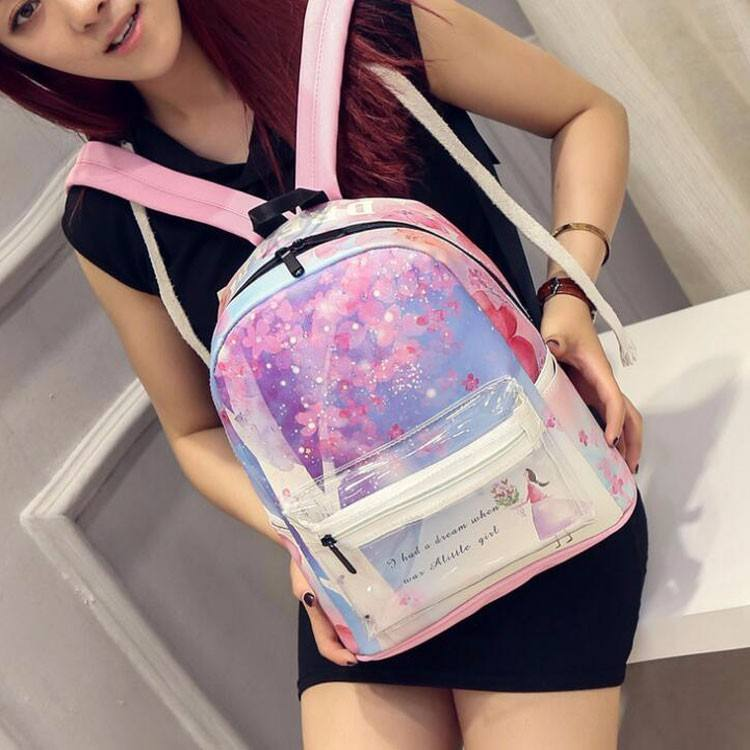 Summer institute of new scenery cartoon backpack transparent splicing backpack bag
