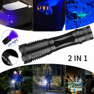 2 IN 1 Professional 500 Lumen High Power LED Zoom 395nM Black Light Aluminum Waterproof UV Tactical Flashlight
