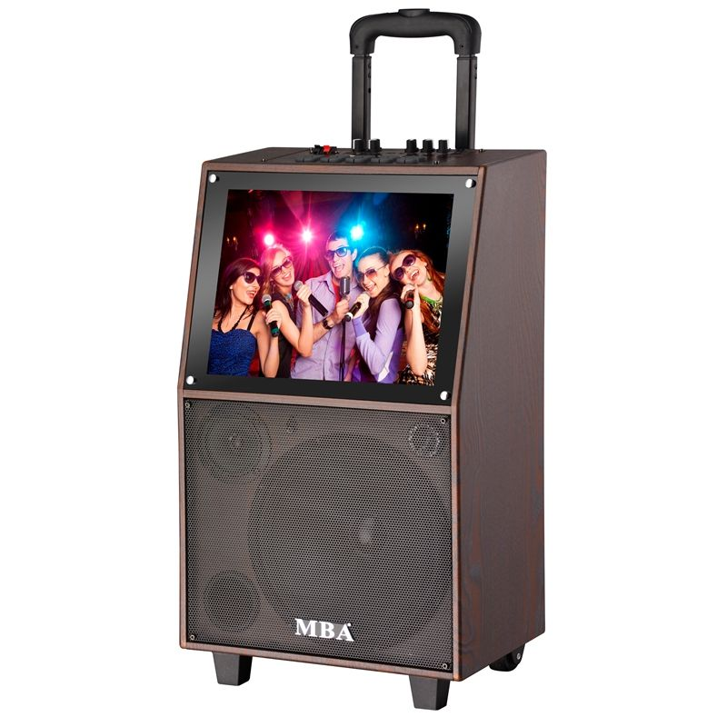 Hanxiang karaoke speaker with lcd touch screen Big power professional bluetooth speaker wireless with 2 pc wireless microphone