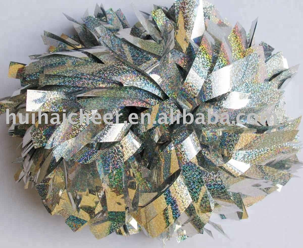 cheerleading pom poms with holographic silver