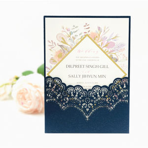 Peacock Feather Laser Cut Pocket Wedding Invitation Card