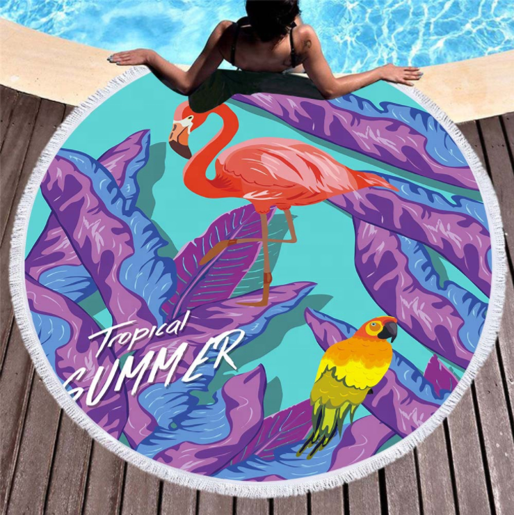 China Manufacturers Personalized Tassel printed round beach towel microfiber for travel