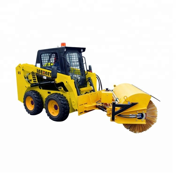 Shandong leeheey brand new 65hp mini skid steer loader with angle broom for sale