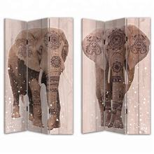 BOHEMIAN STYLE DECORATIVE 3 PANEL CANVAS & WOODEN SCREEN ROOM DIVIDERS WITH OAK WOOD INDIAN ELEPHANT GOD PRINT