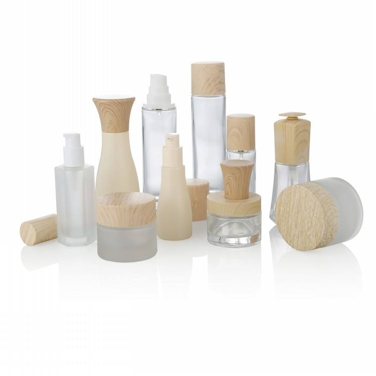 40ml 100ml 120ml glass skincare packaging lotion wholesale cosmetic bottle glass wood