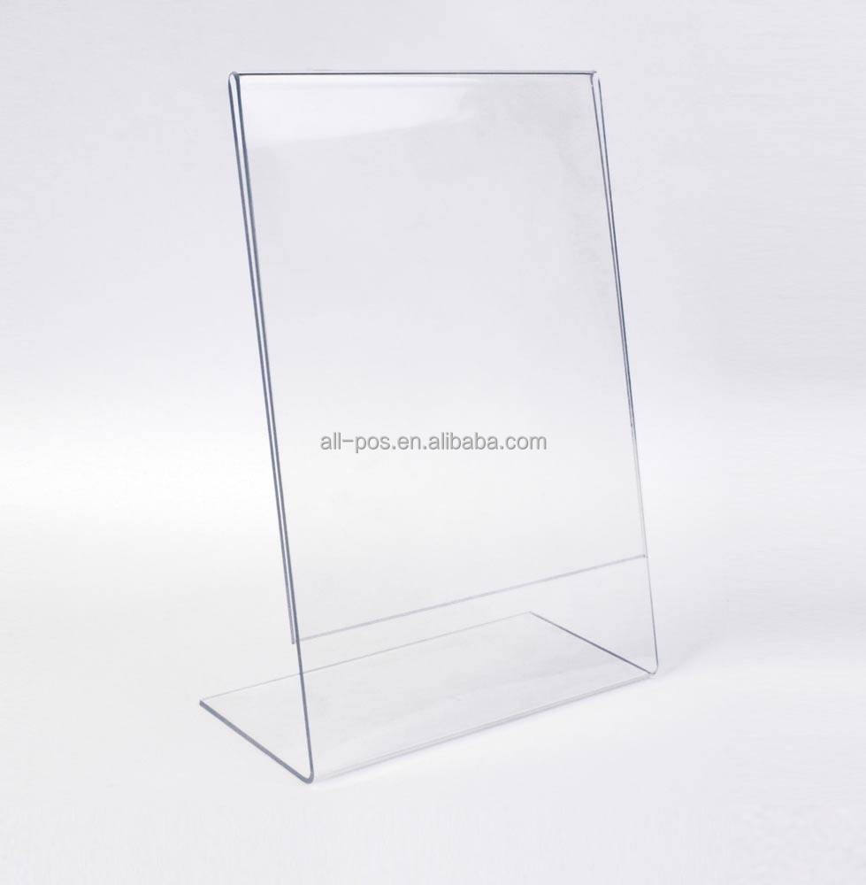 L shape acrylic advertising card holder display stand