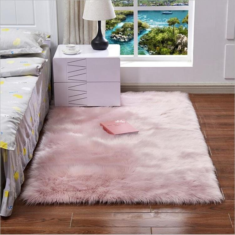 Rectangle Large Faux Fur Floor Mats, Wholesale Washable Floor Mats, All Weather Bedroom Floor Mats