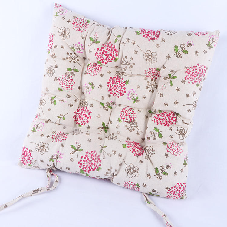 Fashionable square chair pad hanging chair replacement linen seat cushion with printing