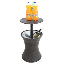 Adjustable party and picnic ice bucket bar cooler outdoor rattan ice cooler table