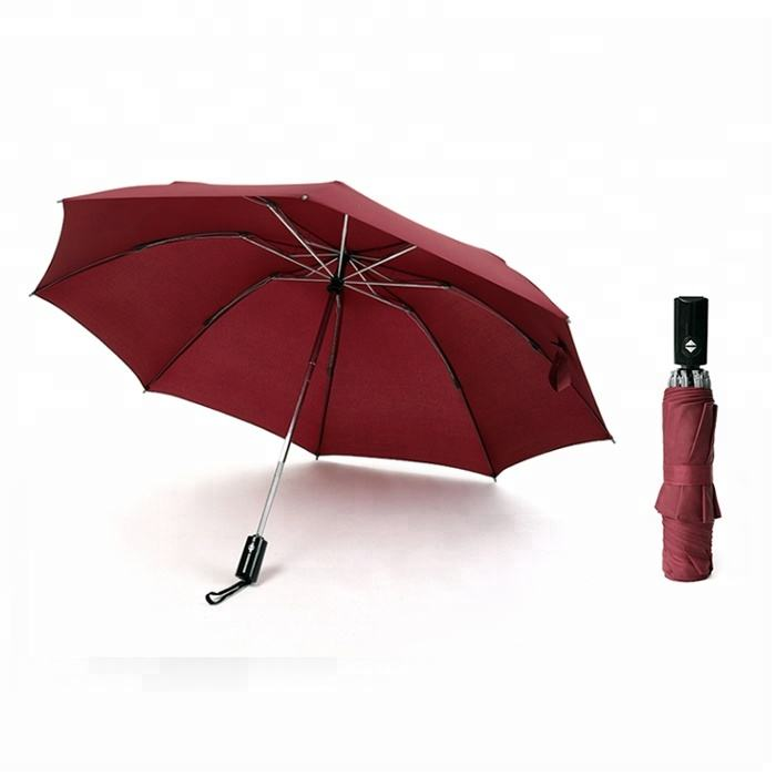 wine red rain windproof 3 folding invert umbrella from China umbrella factory