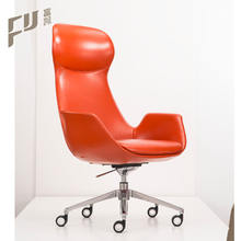 high back red leather leisure designed swivel chairs