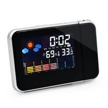 Hottest Desktop Digital Projection Weather Station Alarm  Ceiling Wall Clock