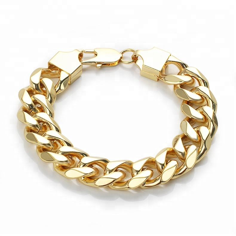 OUMI wholesale 14k gold plated stainless steel chunky chain cuban bracelet with lobster lock jewelry for men